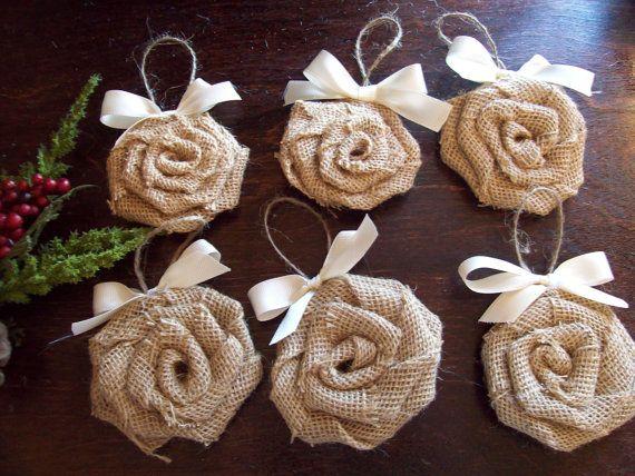 Handmade Burlap Rosette Ornaments with Ivory Bow Set of 6, Burlap Rose Ornaments, Shabby Chic Rose Ornaments, Rustic Chic Ornaments