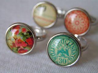 DIY rings using patterned paper.
