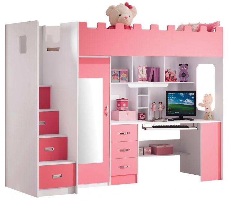 Chambre enfant - Lit multifonction rose pas cher - Comforium.com