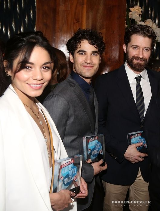Winners Vanessa Hudgens (for 'Gigi'), Darren Criss (for 'Hedwig and The Angry Inch') and Matthew Morrison (for 'Finding Neverland') pose at the 2015 Broadway.com Audience Choice Awards at Lounge 48 on May 19, 2015 in New York City.