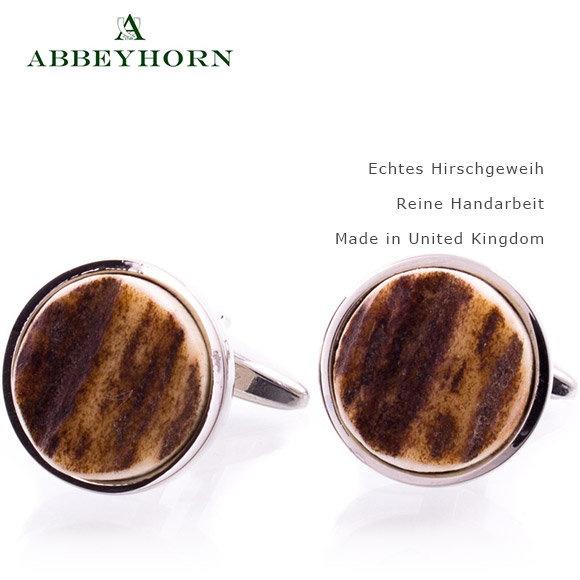 Abbeyhorn Manschettenknöpfe Geweih Rund passen auch gut zur Lederhose ein Muß für den Oktoberfest-Besucher