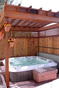 hot tub pergolas - Like the walls