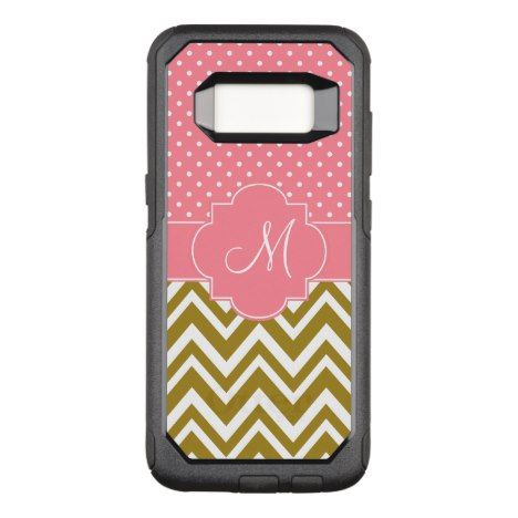 Monogram Coral Chevron with Mint Polka Dot Pattern OtterBox Commuter Samsung Galaxy S8 Case #chevron #samsung #galaxys8 #cases #protect