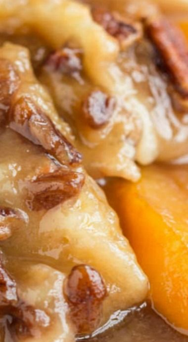 A sweet and buttery dessert recipe that's loaded with fresh peaches and toasted pecans. This simple and easy dessert comes together in one pan.