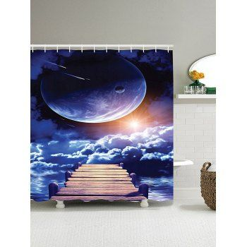 3D Universe Sun Bridge Pattern Shower Curtain