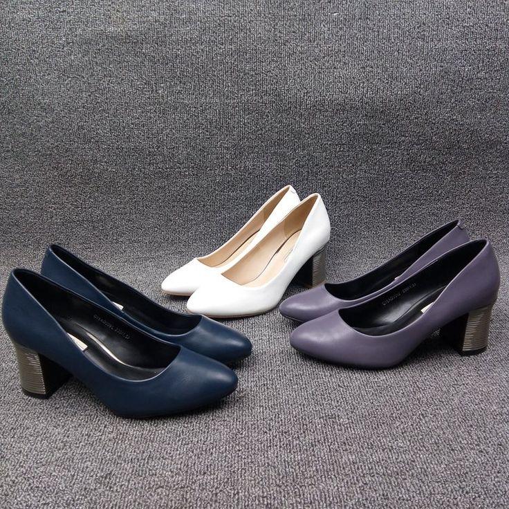 2016 осень корейской версии туфли на высоком каблуке, женские синглов элегантный ретро толстый с мелкой рот указал обувь OL пригородных моды - Taobao