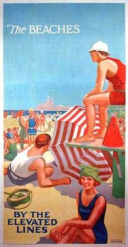 Chicago el train.: Art Work Posters Advertisement, Chicago Poster, Beach Sand Sea, At The Beach, Travel Poster, Offers Beaches, Chicago Beaches, Beach Beachbeach
