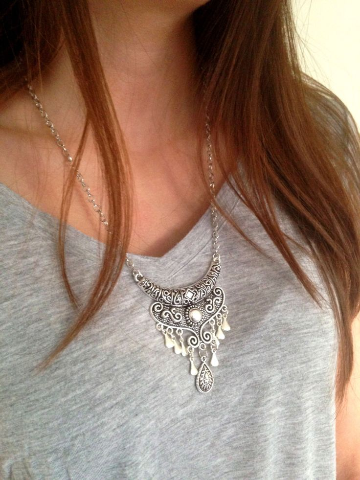 Ethnic Necklace, Bohemian necklace, Tribal necklace, Boho Necklace, Long silver necklace, Belly Dance Necklace, UK Seller by MysticJewelsTrinkets on Etsy https://www.etsy.com/listing/245130888/ethnic-necklace-bohemian-necklace-tribal