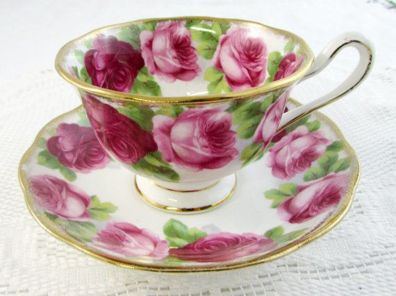 Royal Albert Tea Cup and Saucer Old English Rose, Pink Roses, Vintage Bone China