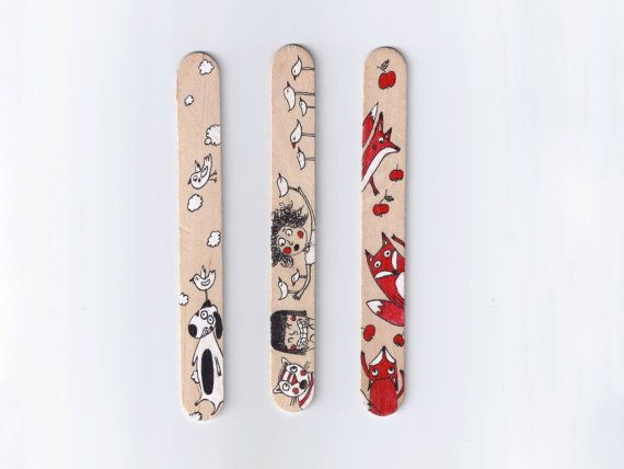 Wood Bookmarks with Unique Illustration Girl Cat Fox by Desfigura