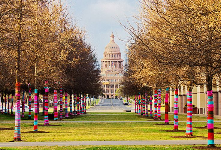 One of our favorite artists in town is Magda Sayeg of Knitta Please. She's a yarn-bomber who has made her way around Austin and the world doing amazing things with yarn needles. Keep an eye out for her projects around town.