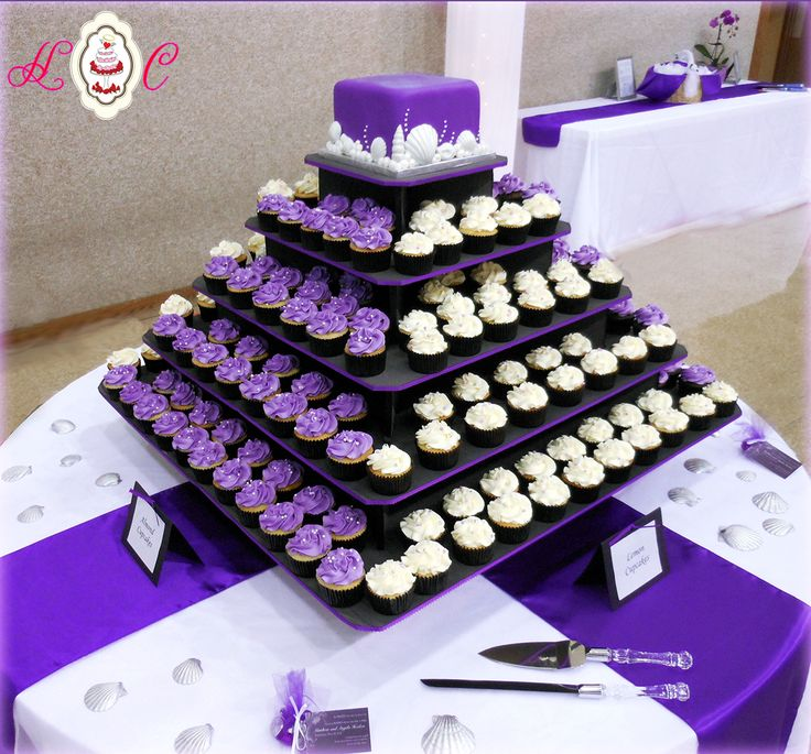 purple white wedding | Purple & White Wedding Cupcake Tower featuring Seashells by Heavenly ...