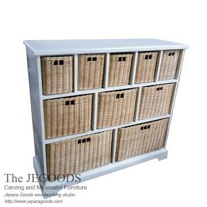 Rustic buffet white painted with rattan baskets. Buy shabby buffet white painted rustic furniture Jepara at wholesale factory price. Shabby Rustic Style!