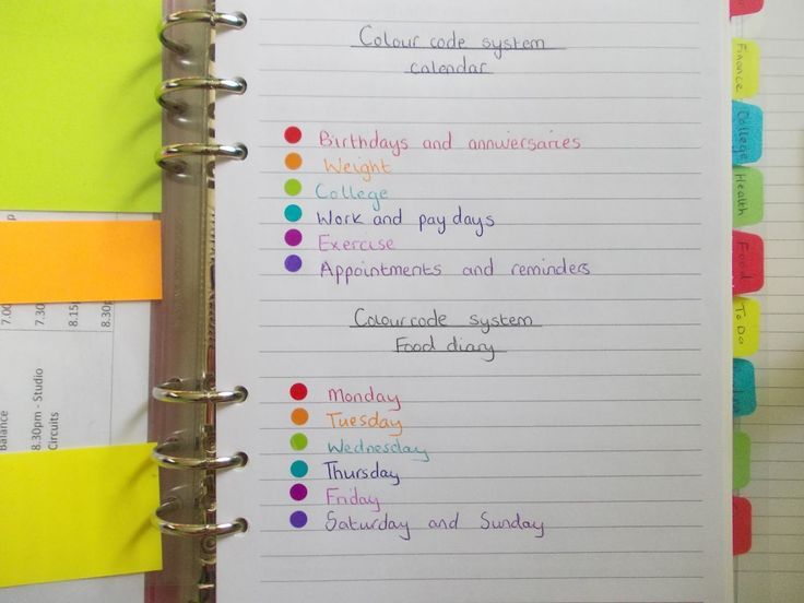 35 best planner images on pinterest planner ideas for Color coding planner