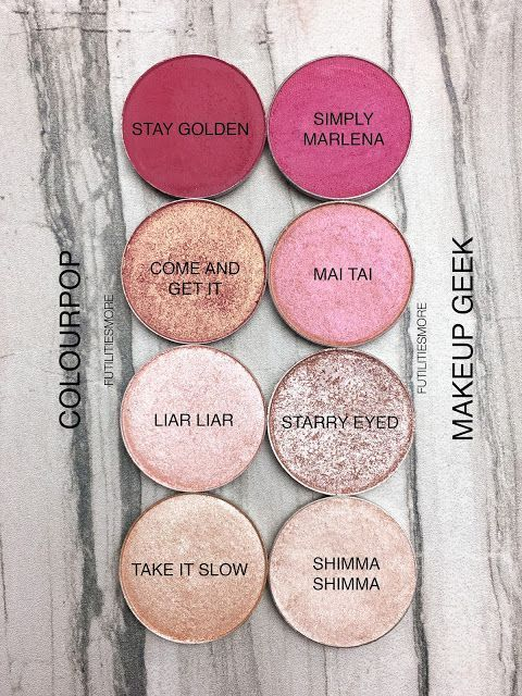 ♡ Pinterest :: Kayleepo ♡ PINKS: Colourpop VS Makeup Geek Eyeshadows swatches