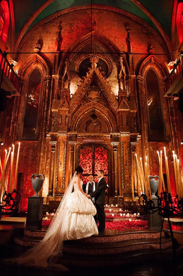 Dracula Inspired Halloween Wedding - bride's dress by Ines Di Santo