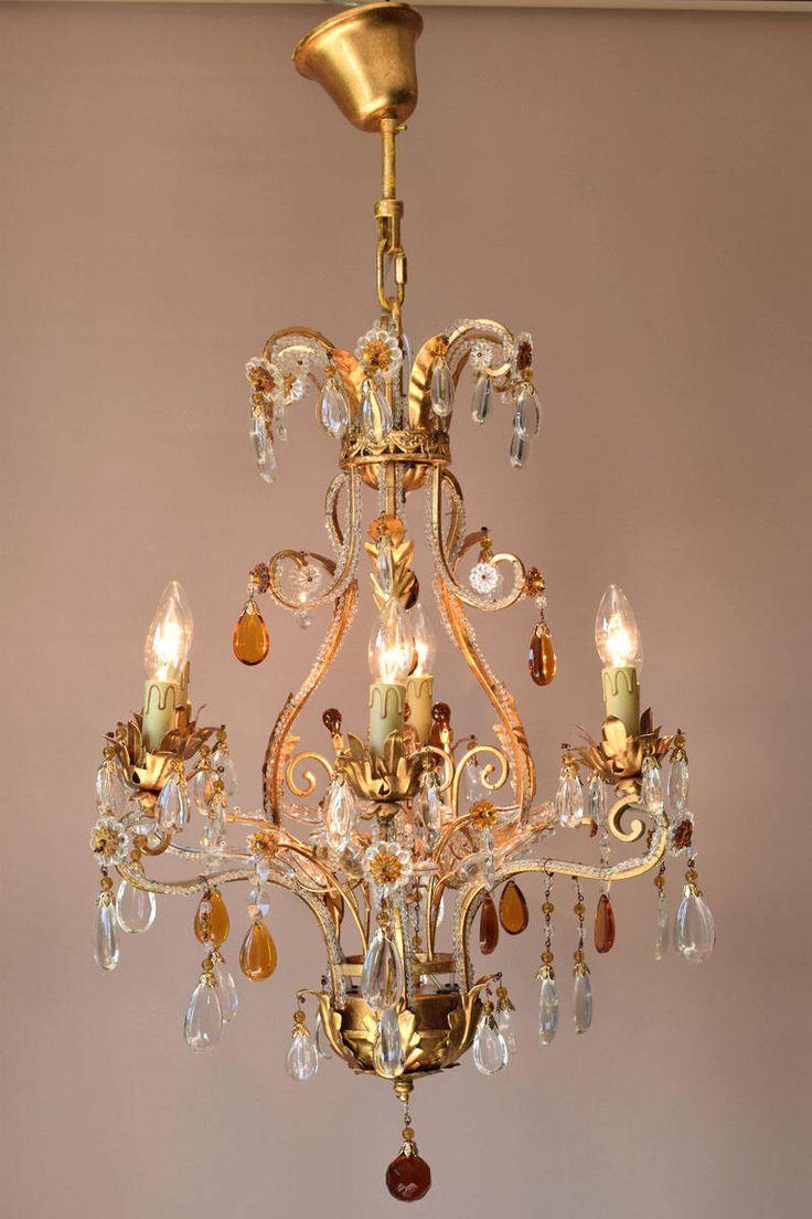 Italian Vintage Crystal Chandelier 6 arm Art Nouveau Hanging Lighting Home Decoration Antique Vintage Chandelier Handmade Old Lamp Lighting by CrystalsEtal on Etsy https://www.etsy.com/listing/537042053/italian-vintage-crystal-chandelier-6-arm
