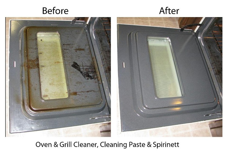 This is a before and after picture from using the norwex for Oven cleaner on kitchen countertops