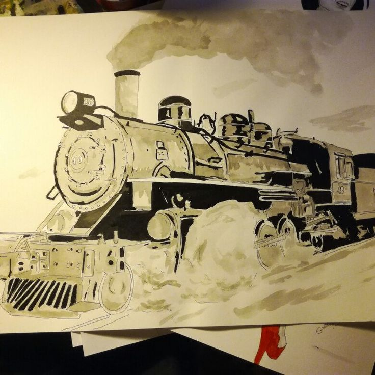 Old drawing steam locomotive  India ink A3 #art #artist  #fineart  #train #history  #drawing #painting