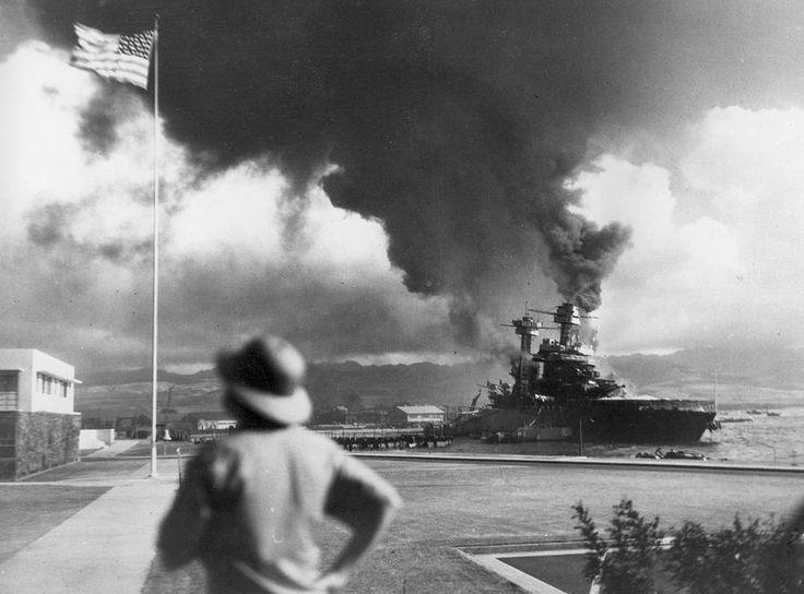 World War II: Pearl Harbor. American ships, USS California, burn during the Japanese attack on Pearl Harbor, Hawaii, on December 7, 1941.