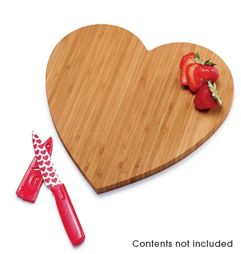 Bamboo Heart Cutting Board with Knife only $14.99