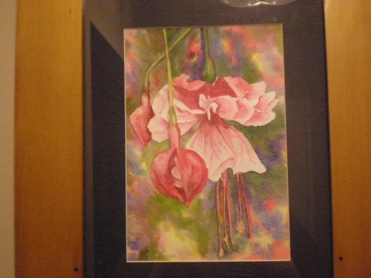Fuscia Watercolour. Painted in Taupo @ 2004