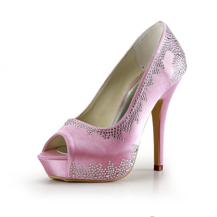 Dyeable Fabulous 5 Rhinestones Peep-toe Pumps - Pink Party shoes (11 colors)