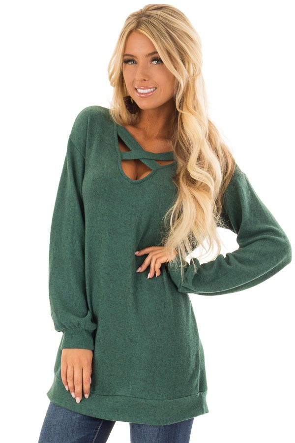 044256119568a Lime Lush Boutique - Hunter Green Two Tone Soft Knit Criss Cross Band  Sweater
