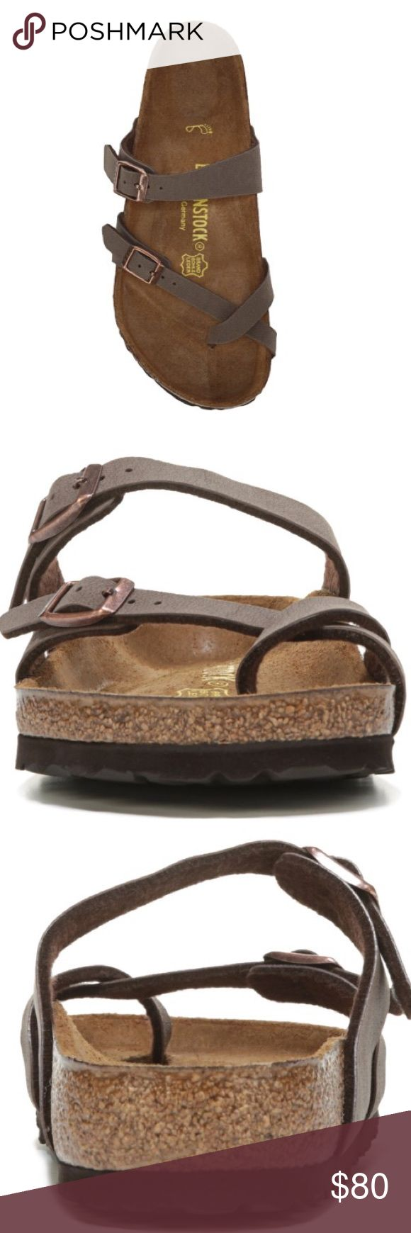 BIRKENSTOCK Women's Mayari Footbed Sandal NEW $95 An elegant, thin-strapped silhouette combines with footbed comfort in the Mayari Footbed Sandal from Birkenstock. NWT NWOB Faux nubuck leather Birkibuc upper in a casual footbed sandal style with an open toe Fabric toe-loop for added comfort Textured leather-like finish wipes clean with mild soap and water Two adjustable straps with buckle closures Slide entry Smooth lining, classic Birkenstock footbed featuring pronounced arch support and a…