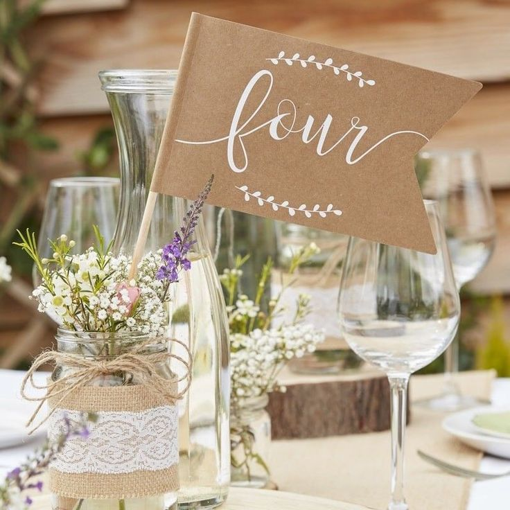 Place our rustic kraft Table Number Flags on top of your tables so guests can easily find where they are sitting The kraft paper background