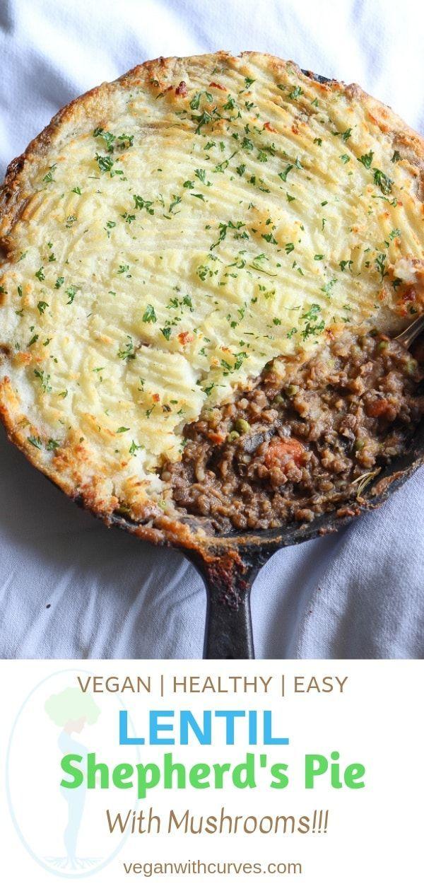 Was macht einen tollen veganen Hirtenkuchen aus? Linsen und Pilze! Bedeckt mit …