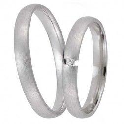 Vielses- og forlovelsesringe i hvidguld med en brillant - 8KT