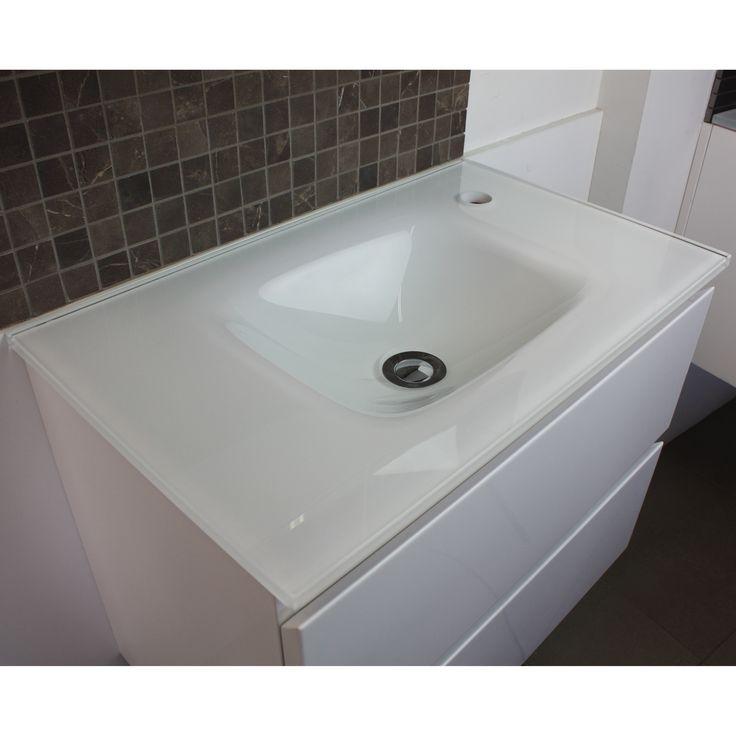 Essence White Glass Vanity Top 600mm