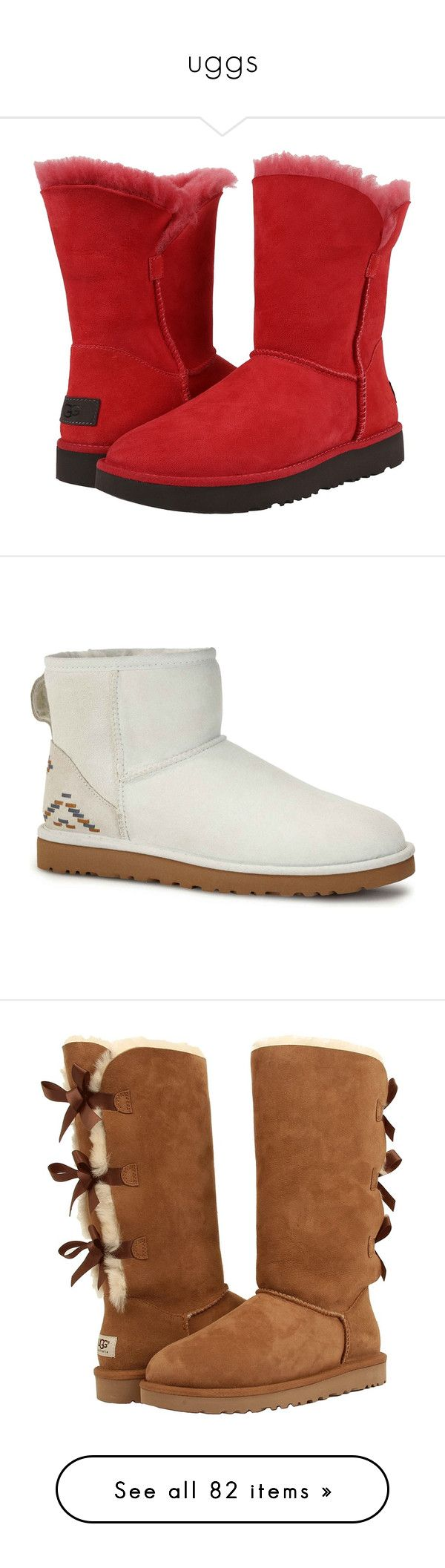 """""""uggs"""" by briannanash1219 ❤ liked on Polyvore featuring shoes, boots, ankle booties, ankle boots, red platform booties, ugg® bootie, low heel ankle boots, fur ankle boots, uggs and white"""