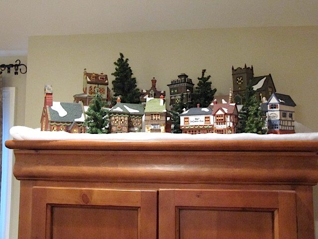 Image result for christmas village displays above kitchen cabinets