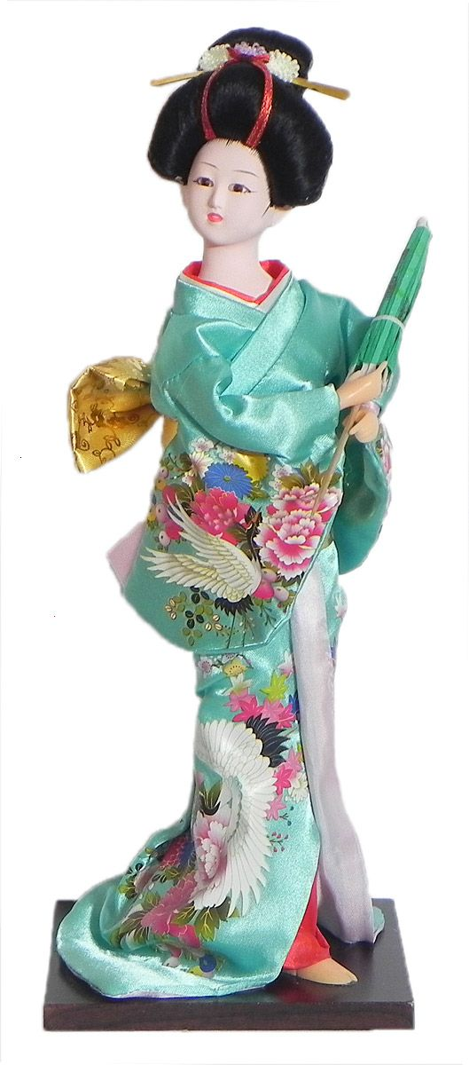 Japanese Geisha Doll in Printed Cyan Green Kimono Dress Holding Umbrella (Cloth, Clay, Plastic and Thermocol)