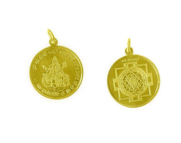 Shree Yantra Pendant In Copper Gold Plated Blessed And Energized Locket Charm