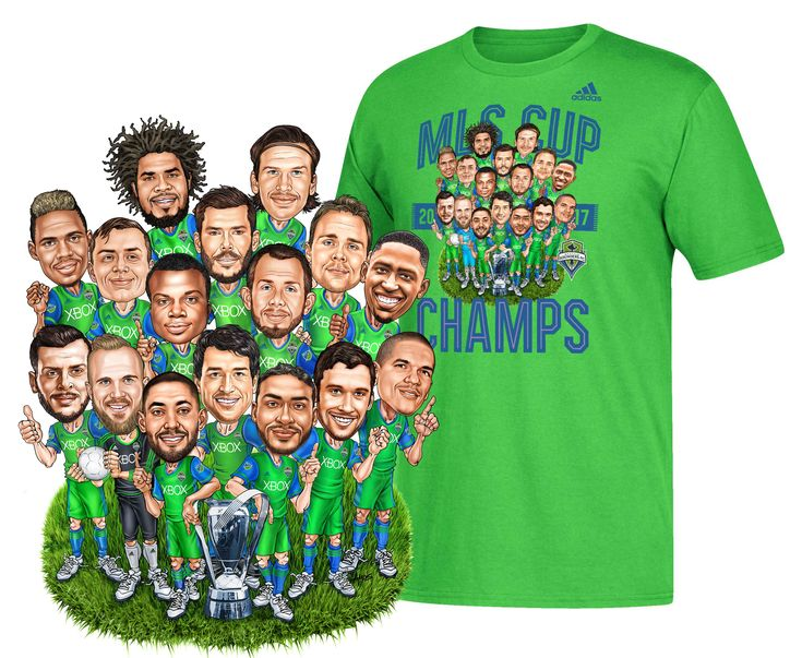 My 2017 MLS Seattle Sounders Champs Caricature Commissioned by Adidas - www.amosink.com