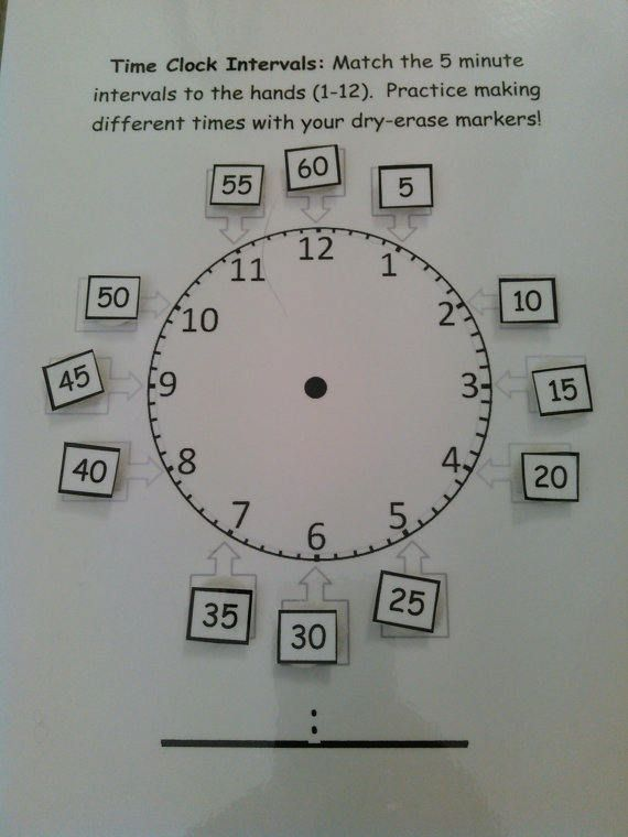 Quiet Book Page  Velcro  Time Clock Intervals Match  Dry
