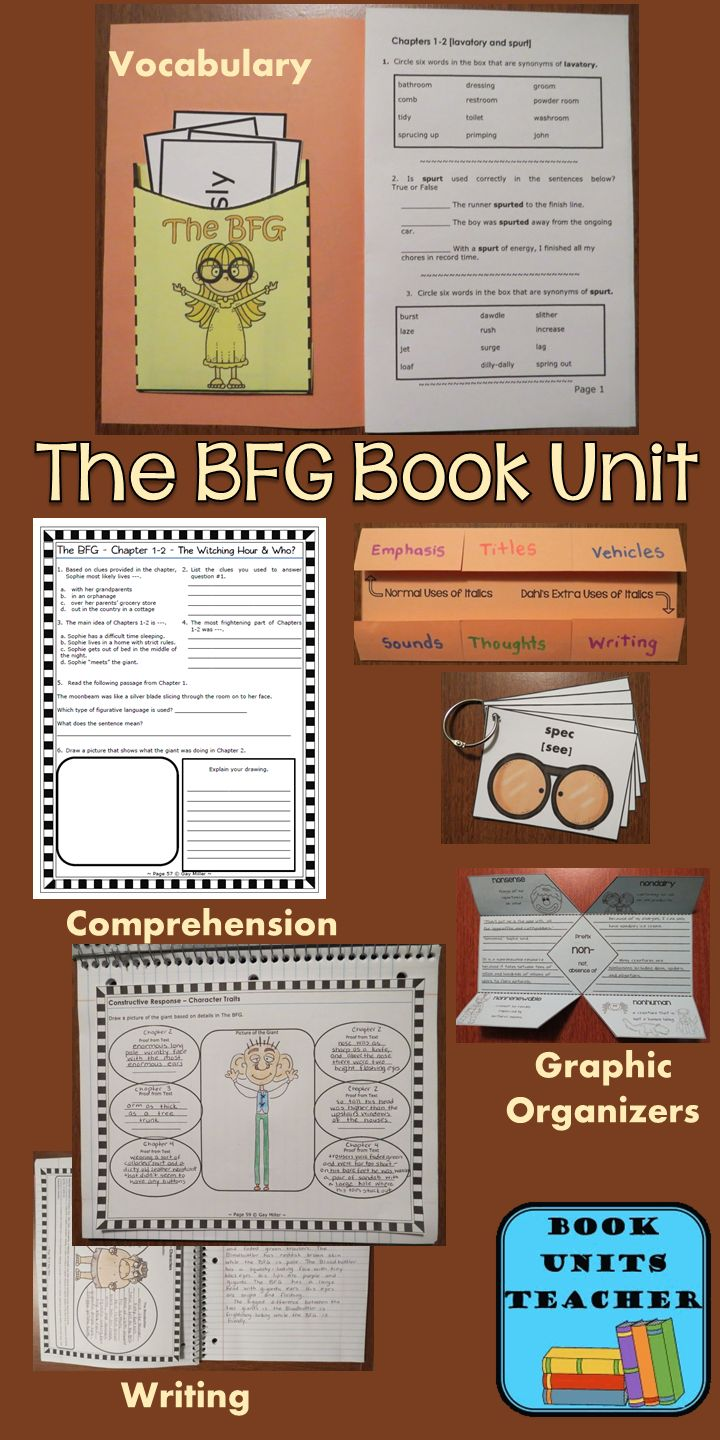 The BFG Book Unit contains graphic organizers for an interactive notebook and game activities covering vocabulary, constructive response writing, and skill practice. $