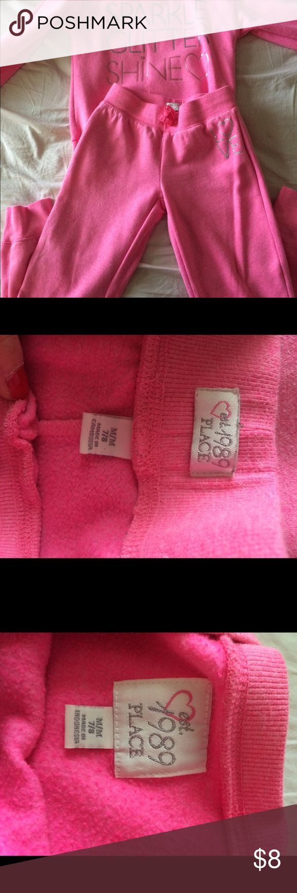 Pink jogging outfit kids Children's place girls pink jogging suit gently used no tears rips or stains Children's Place Matching Sets