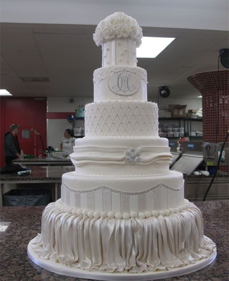 Glitzy white wedding cake by TLC's Cake Boss Buddy Valastro for Mario Lopez wedding