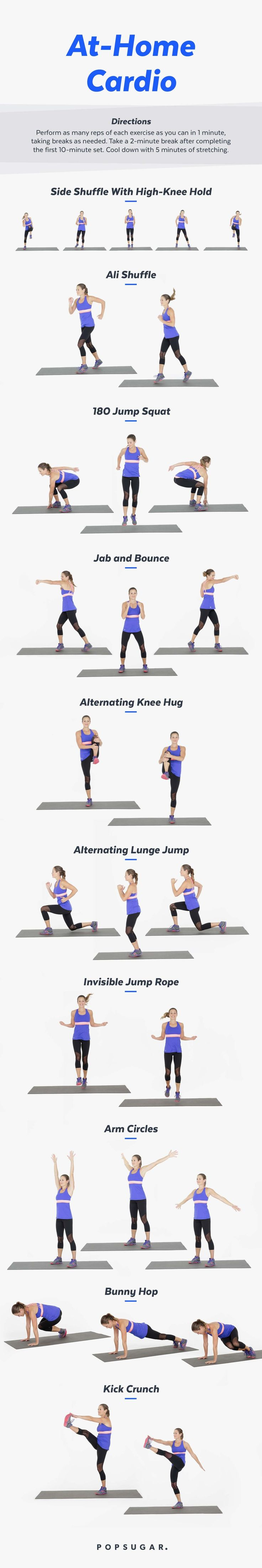 You don't need any equipment to get your cardio on. Heck, you don't even need to run to get your heart rate up. With this 20-minute workout you can burn major calories in your living room. Plus, we have both a video and a printable version of this workout — so you work out how ever suits your fancy.