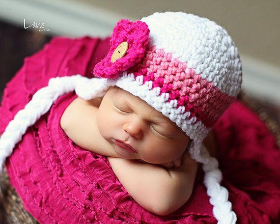 Girls Earflap Hat Toddler/Infant Crochet