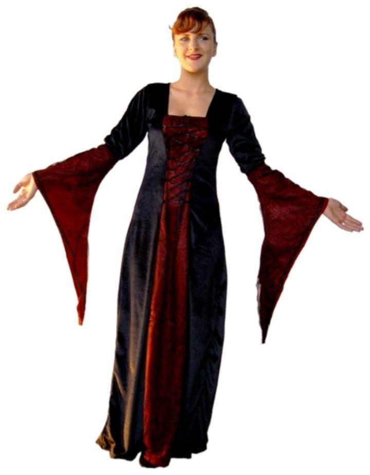 Middeleeuwse Jurk Zwart-Rood
