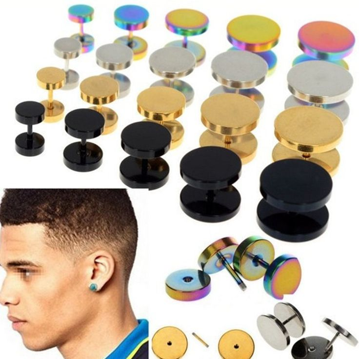 2Pcs Gold Black Sliver Stainless Steel Cheater Faux Fake Ear Plugs Flesh Tunnel Gauges Tapers Stretcher Earring Body Piercing