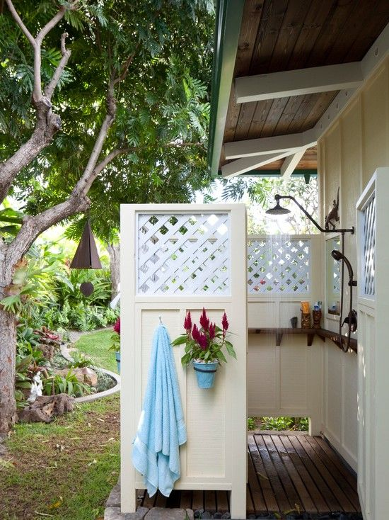 30 best images about outdoor shower ideas on pinterest for Outdoor shower floor ideas