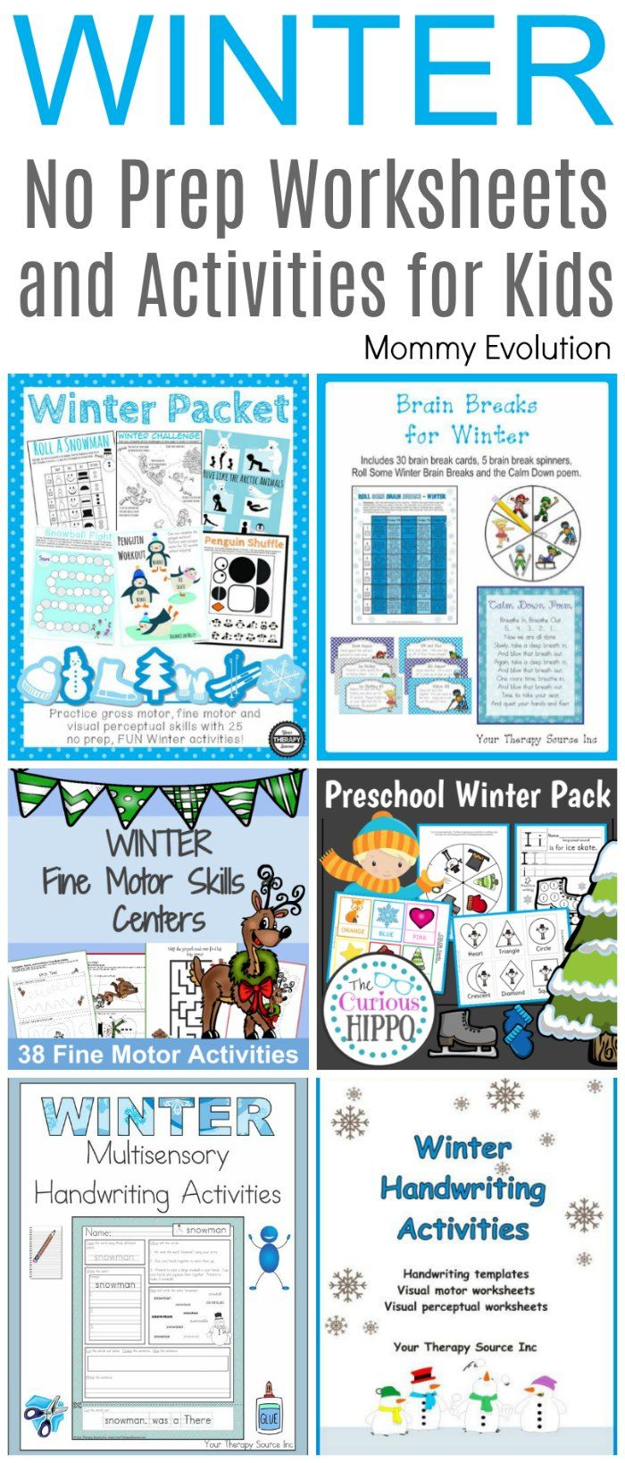 No Prep Winter Worksheets and Activities | Mommy Evolution ...