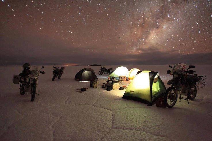 Camping on a salt flat