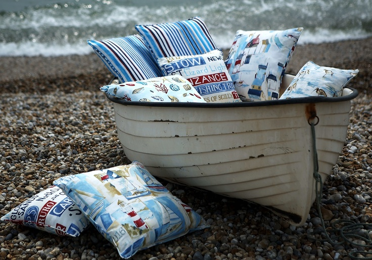 Westward Ho, cotton prints all in an evocative watercolour style complimented by a nautical stripe